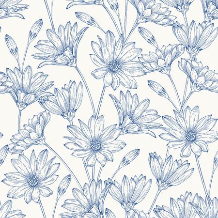 Photo pour Beautiful vintage seamless pattern with blue daisies on a white background. - image libre de droit