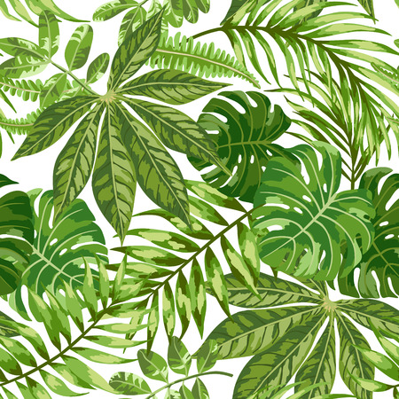 Ilustración de Seamless exotic pattern with tropical leaves on a white background. Vector illustration. - Imagen libre de derechos