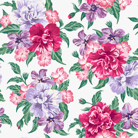 Illustration for Seamless exotic pattern with tropical leaves and flowers on a white background. Vector illustration. - Royalty Free Image