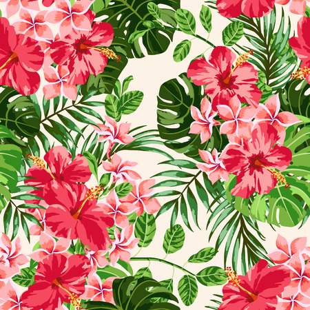Illustration for Seamless exotic pattern with tropical leaves and flowers on a white background. Plumeria, hibiscus, monstera, palm. Vector illustration. - Royalty Free Image