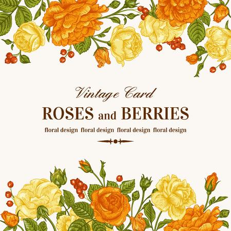 Ilustración de Vintage wedding invitation with orange and yellow roses on a white background. Vector illustration. - Imagen libre de derechos