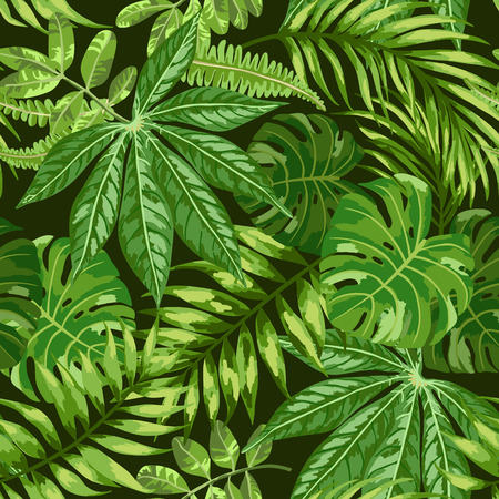 Illustration pour Seamless exotic pattern with tropical leaves on a black background. Vector illustration. Vector illustration. - image libre de droit