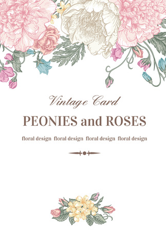 Photo pour Vintage floral card with garden flowers. Peonies, roses, sweet peas, bell. Romantic background. Vector illustration. - image libre de droit