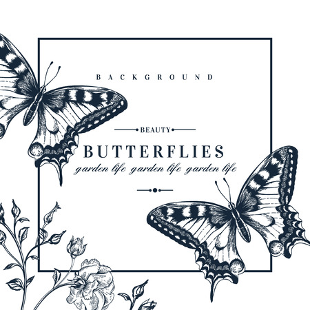 Ilustración de Vector card with butterflies and flowers. - Imagen libre de derechos