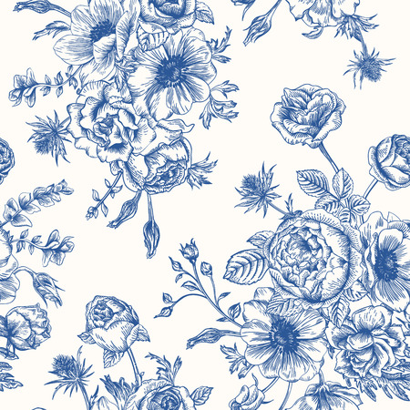 Illustration pour Seamless floral pattern with bouquet of blue flowers on a white background. Roses anemones eustoma. - image libre de droit