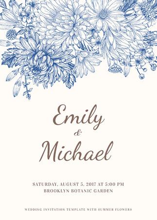 Illustration pour Floral wedding invitation in vintage style - image libre de droit