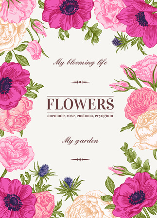 Illustration for Floral vector background with colorful flowers. Anemone, rose, eustoma, eustoma. - Royalty Free Image