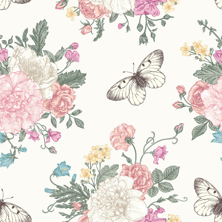 Illustration pour Seamless floral pattern with bouquet of colorful flowers on a white background. Peonies, roses, sweet peas, bell. Vector illustration. - image libre de droit