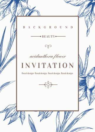 Ilustración de Wedding invitation template with flowers. Acidanthera flowers in blue. Vector illustration. - Imagen libre de derechos