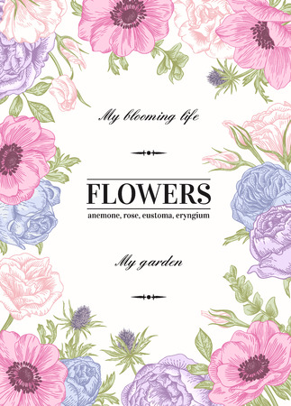 Illustration pour Floral vector background with flowers in pastel colors. Anemone, rose, eustoma, eustoma. - image libre de droit