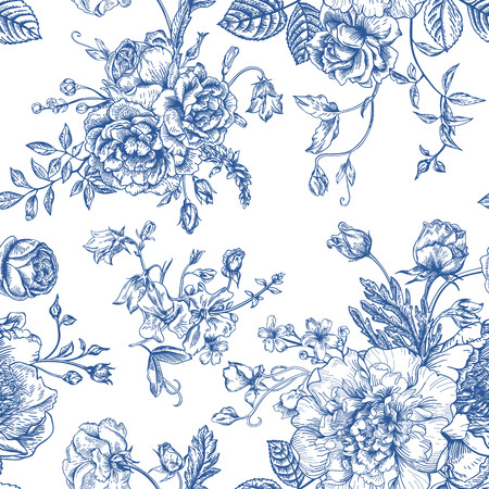 Illustration pour Seamless vector vintage pattern with bouquet of blue flowers on a white background. Peonies, roses, sweet peas, bell. Monochrome. - image libre de droit