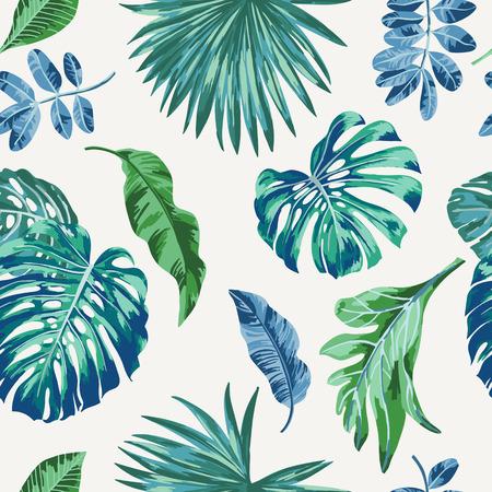 Ilustración de Seamless exotic pattern with tropical leaves . Vector illustration. - Imagen libre de derechos