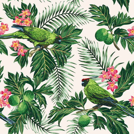 Illustration for Seamless exotic tropical pattern with leaves, fruits, flowers and birds. Breadfruit, palm, plumeria, parrots. Vector illustration. - Royalty Free Image