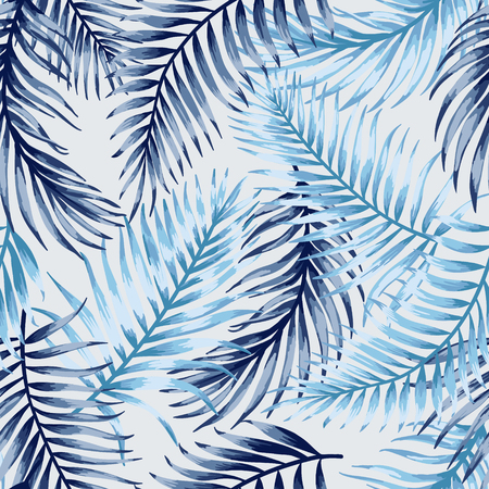 Ilustración de Seamless exotic pattern with tropical leaves on a white background. Vector illustration. Blue leaves. - Imagen libre de derechos
