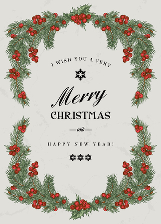 Illustration pour Vintage Christmas frame with pine branches and berries Holly. Vector illustration. - image libre de droit