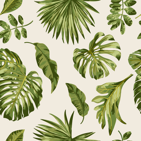 Ilustración de Seamless exotic pattern with tropical leaves on a white background. Vector illustration. - Imagen libre de derechos