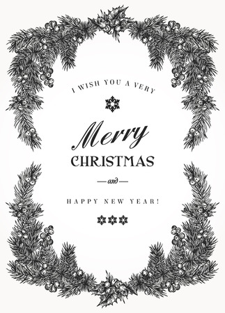 Illustration pour Vintage Christmas frame with pine branches and berries Holly. Vector illustration. Black and white. - image libre de droit