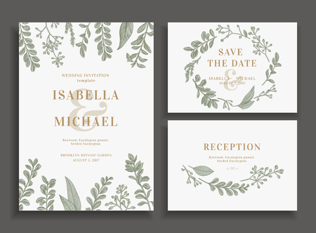 Illustration pour Vintage wedding set with greenery. Wedding invitation, save the date, reception card. - image libre de droit