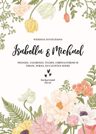 Photo pour Vintage wedding invitation. Summer garden flowers. Peonies, anemones, tulips, phlox, chrysanthemum, ferns, eucalyptus seeds. - image libre de droit