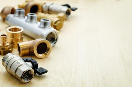 Foto de tools plumbing on a light woody background - Imagen libre de derechos