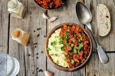 Photo pour buttered millet with tomato eggplant curry - image libre de droit