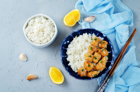 Photo for Orange teriyaki chicken with rice. toning. selective focus - Royalty Free Image