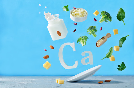 Photo for Flying foods rich in calcium. Healthy eating - Royalty Free Image