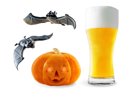 Photo for Beer list: light beer with pumpkin and bats isolated. Halloween concept - Royalty Free Image