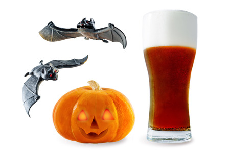 Photo for Beer list: dark beer with pumpkin and bats isolated. Halloween concept - Royalty Free Image