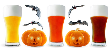 Photo for Beer list: light, red and dark beer with pumpkin and bats isolated. Halloween concept - Royalty Free Image