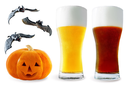 Photo for Beer list: light and dark beer with pumpkin and bats isolated. Halloween concept - Royalty Free Image