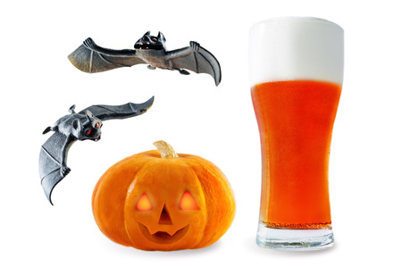 Photo for Beer list: red beer with pumpkin and bats isolated. Halloween concept - Royalty Free Image