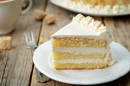 Photo for Sponge cake with butter cream. toning. selective focus - Royalty Free Image