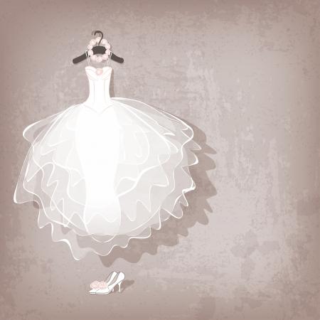 Photo pour wedding dress on grungy background - vector illustration - image libre de droit
