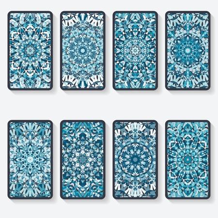 Illustration pour business cards collection with kaleidoscope pattern - image libre de droit