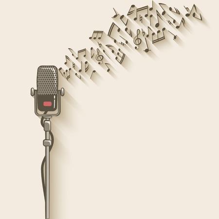 Illustration pour background with retro microphone - image libre de droit