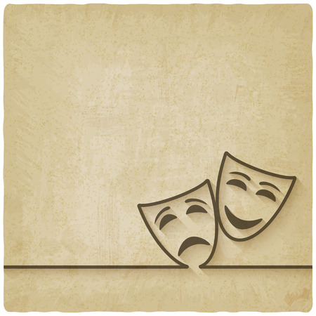 Illustrazione per comedy and tragedy masks old background - Immagini Royalty Free