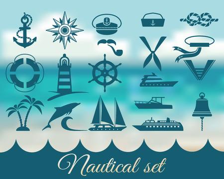 Illustration pour nautical marine icons set - vector illustration. eps 8 - image libre de droit
