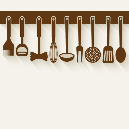 Illustration pour Kitchen Utensil Set vector illustration.  - image libre de droit