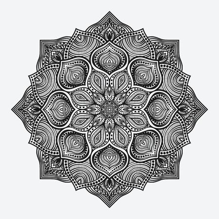 Ilustración de mandala. circular monochrome pattern. vector illustration - Imagen libre de derechos