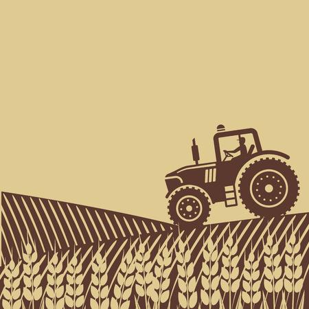 Illustration pour tractor in field.  - image libre de droit