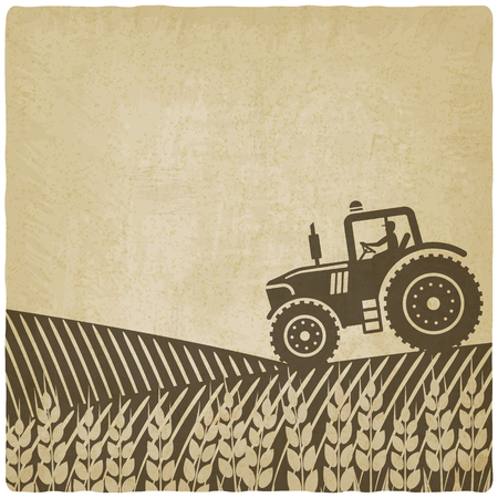 Illustration pour tractor in field old background.  - image libre de droit