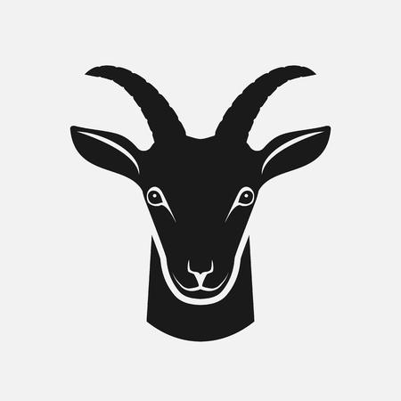 Ilustración de Goat head black silhouette. Farm animal icon. vector illustration - Imagen libre de derechos