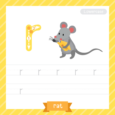 Ilustración de Letter R lowercase tracing practice worksheet with rat for kids learning to write. Vector Illustration. - Imagen libre de derechos