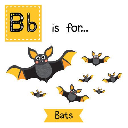 Ilustración de Cute children ABC alphabet B letter tracing flashcard of A Colony of Bats for kids learning English vocabulary in Happy Halloween Day theme. - Imagen libre de derechos