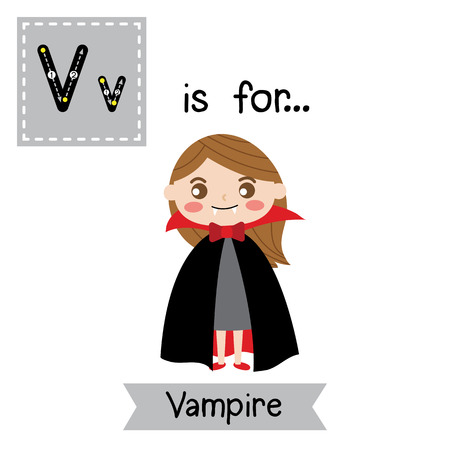 Ilustración de Cute children ABC alphabet V letter tracing flashcard of female Vampire for kids learning English vocabulary in Happy Halloween Day theme. Vector illustration. - Imagen libre de derechos