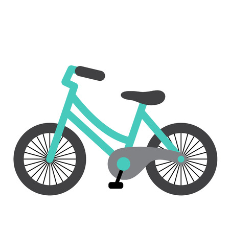 Illustrazione per Bike transportation cartoon character side view isolated on white background vector illustration. - Immagini Royalty Free