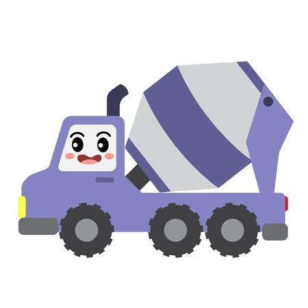 Illustration pour Concrete Mixer Truck transportation cartoon character side view isolated on white background vector illustration. - image libre de droit
