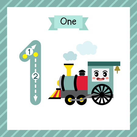 Ilustración de Cute children Flashcard number one tracing with 1 Steam Trains for kids learning to count and to write. - Imagen libre de derechos