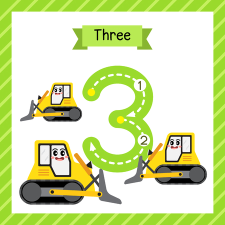 Ilustración de Cute children Flashcard number three tracing with 3 Bulldozers for kids learning to count and to write. - Imagen libre de derechos